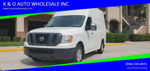 2018 Nissan NV Cargo for sale at K & O AUTO WHOLESALE INC in Jacksonville FL