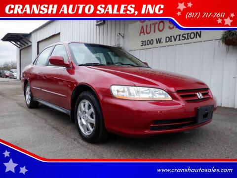 2002 Honda Accord for sale at CRANSH AUTO SALES, INC in Arlington TX