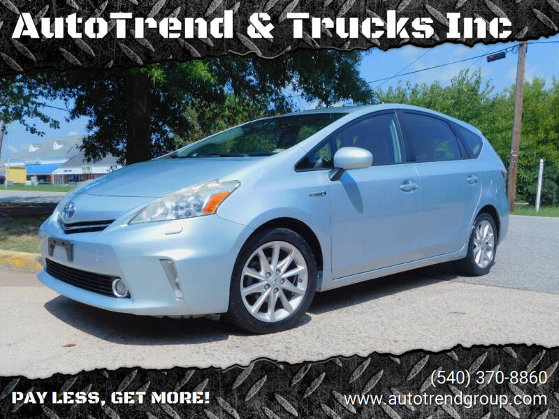 2013 Toyota Prius v for sale at AutoTrend & Trucks Inc in Fredericksburg VA