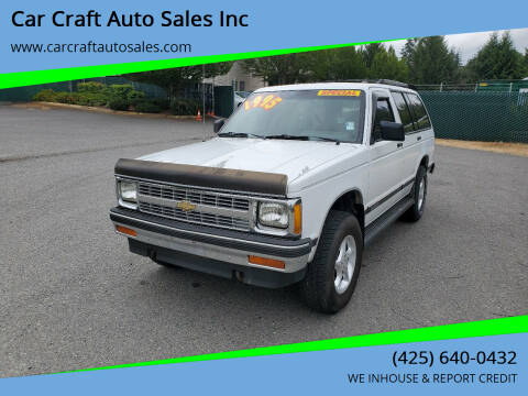 1992 Chevrolet S-10 Blazer for sale at Car Craft Auto Sales Inc in Lynnwood WA