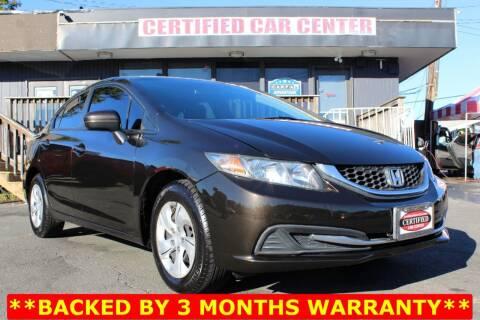 2014 Honda Civic for sale at CERTIFIED CAR CENTER in Fairfax VA