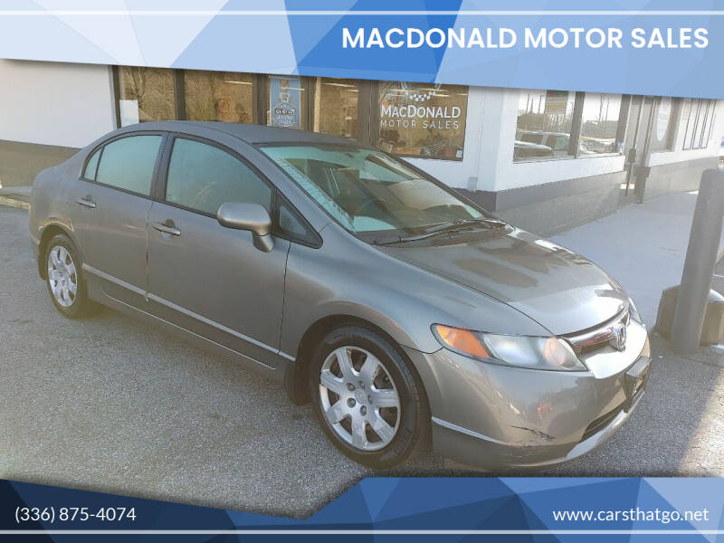 2008 Honda Civic for sale at MacDonald Motor Sales in High Point NC