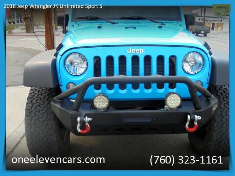 2018 Jeep Wrangler JK Unlimited for sale at One Eleven Vintage Cars in Palm Springs CA