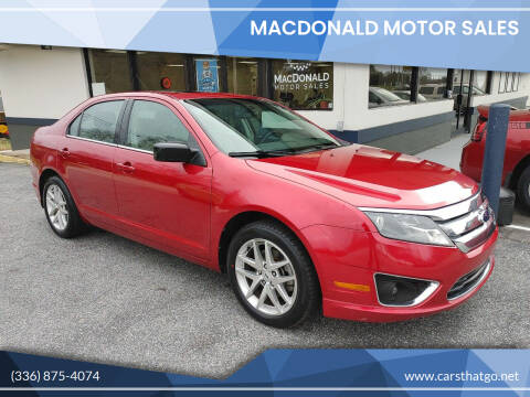 2012 Ford Fusion for sale at MacDonald Motor Sales in High Point NC