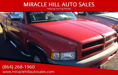 1997 Dodge Ram Pickup 1500 for sale at MIRACLE HILL AUTO SALES in Greenville SC