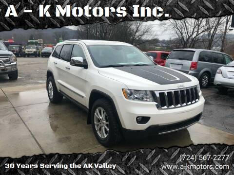 2011 Jeep Grand Cherokee for sale at A - K Motors Inc. in Vandergrift PA