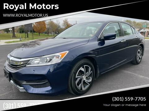 2016 Honda Accord for sale at Royal Motors in Hyattsville MD