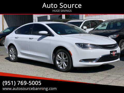 2015 Chrysler 200 for sale at Auto Source in Banning CA