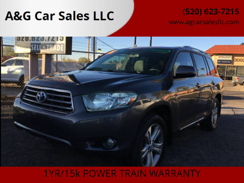 2008 Toyota Highlander for sale at A&G Car Sales  LLC in Tucson AZ