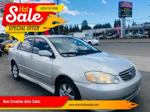 2004 Toyota Corolla for sale at New Creation Auto Sales in Everett WA