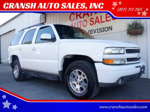 2002 Chevrolet Tahoe for sale at CRANSH AUTO SALES, INC in Arlington TX
