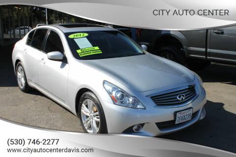 2012 Infiniti G25 Sedan for sale at City Auto Center in Davis CA