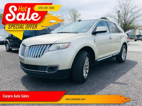 2011 Lincoln MKX for sale at Carpro Auto Sales in Chesapeake VA