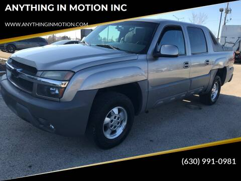 2002 Chevrolet Avalanche for sale at ANYTHING IN MOTION INC in Bolingbrook IL