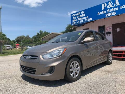 2014 Hyundai Accent for sale at P & A AUTO SALES in Houston TX