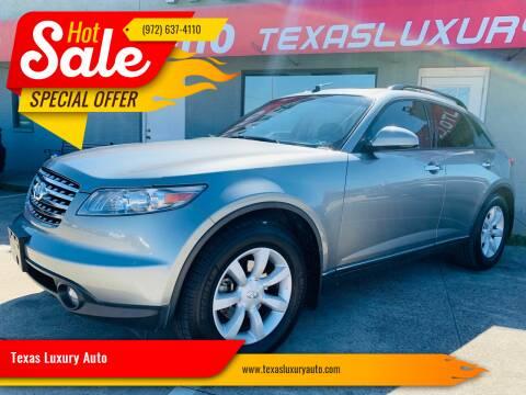 2004 Infiniti FX35 for sale at Texas Luxury Auto in Cedar Hill TX