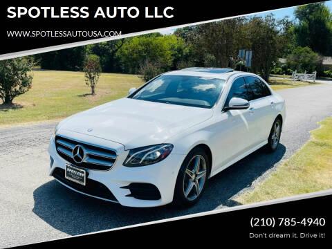 2017 Mercedes-Benz E-Class for sale at SPOTLESS AUTO LLC in San Antonio TX