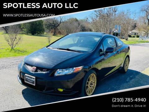 2012 Honda Civic for sale at SPOTLESS AUTO LLC in San Antonio TX