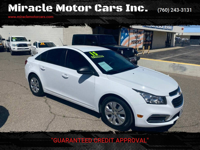 2015 Chevrolet Cruze for sale at Miracle Motor Cars Inc. in Victorville CA