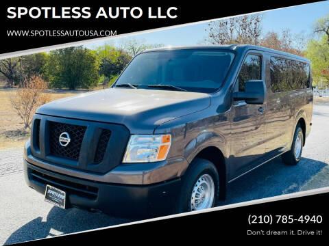 2015 Nissan NV Passenger for sale at SPOTLESS AUTO LLC in San Antonio TX