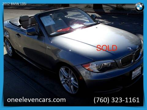 2012 BMW 1 Series for sale at One Eleven Vintage Cars in Palm Springs CA