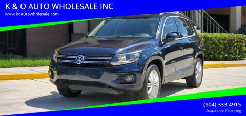 2013 Volkswagen Tiguan for sale at K & O AUTO WHOLESALE INC in Jacksonville FL