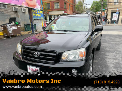 2006 Toyota Highlander for sale at Vanbro Motors Inc in Staten Island NY