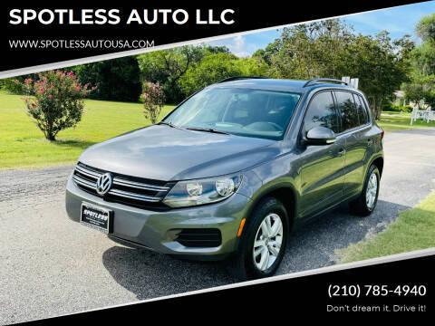 2015 Volkswagen Tiguan for sale at SPOTLESS AUTO LLC in San Antonio TX