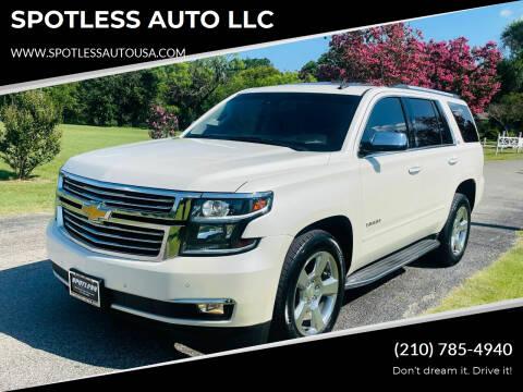 2015 Chevrolet Tahoe for sale at SPOTLESS AUTO LLC in San Antonio TX