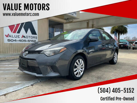 2015 Toyota Corolla for sale at VALUE MOTORS in Kenner LA