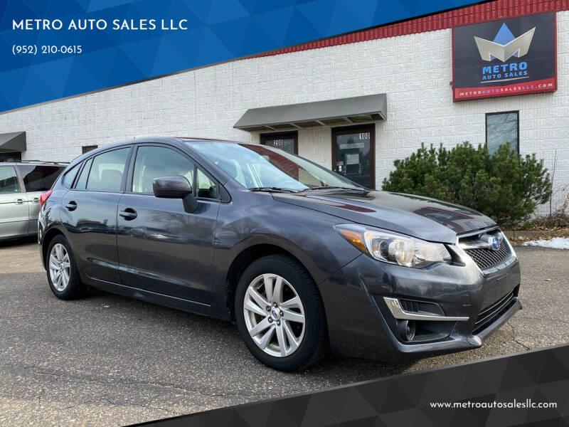 2016 Subaru Impreza for sale at METRO AUTO SALES LLC in Blaine MN