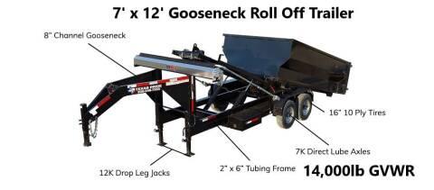 2021 TEXAS PRIDE 7'X12' Gooseneck Roll Off 14K for sale at Montgomery Trailer Sales - Texas Pride in Conroe TX