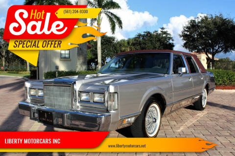 1988 Lincoln Town Car for sale at LIBERTY MOTORCARS INC in Royal Palm Beach FL