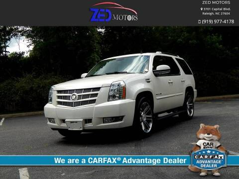 2012 Cadillac Escalade for sale at Zed Motors in Raleigh NC