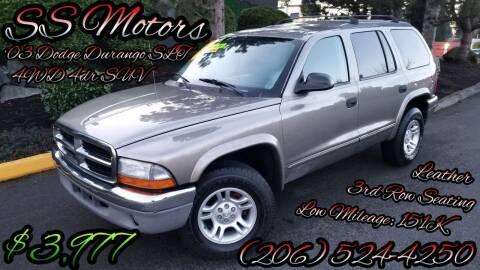 2003 Dodge Durango for sale at SS MOTORS LLC in Edmonds WA