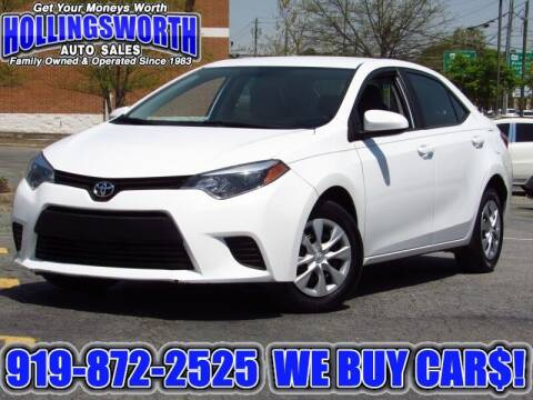 2014 Toyota Corolla for sale at Hollingsworth Auto Sales in Raleigh NC