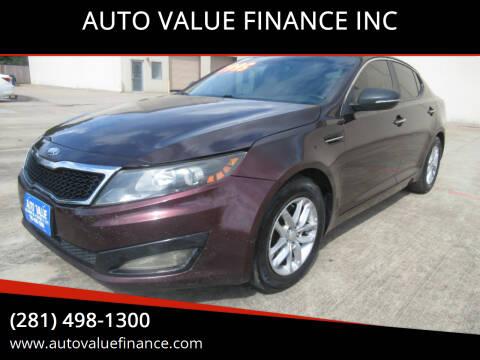 2013 Kia Optima for sale at AUTO VALUE FINANCE INC in Stafford TX