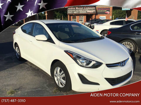 2016 Hyundai Elantra for sale at Aiden Motor Company in Portsmouth VA