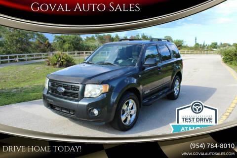 2008 Ford Escape for sale at Goval Auto Sales in Pompano Beach FL