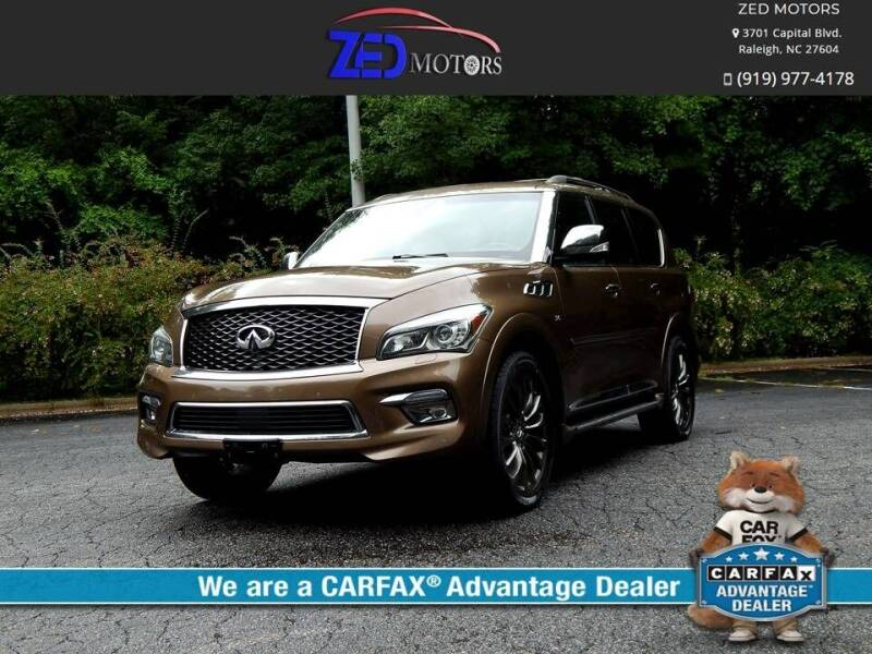 2015 Infiniti QX80 for sale at Zed Motors in Raleigh NC