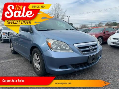 2005 Honda Odyssey for sale at Carpro Auto Sales in Chesapeake VA