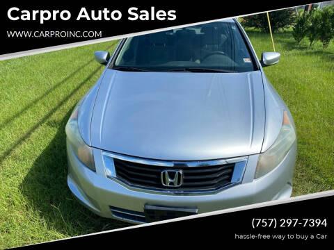 2008 Honda Accord for sale at Carpro Auto Sales in Chesapeake VA