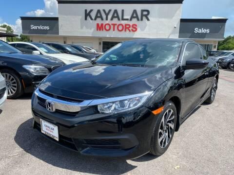 2016 Honda Civic for sale at KAYALAR MOTORS in Houston TX