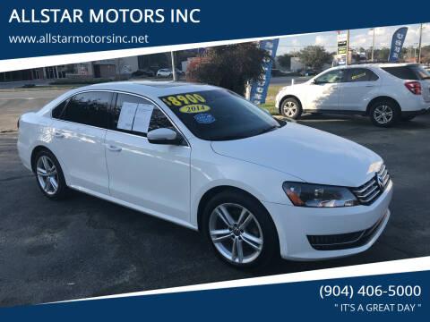 2014 Volkswagen Passat for sale at ALLSTAR MOTORS INC in Middleburg FL