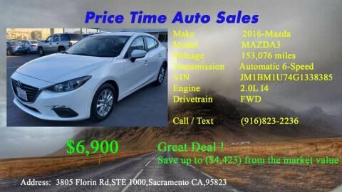 2016 Mazda MAZDA3 for sale at PRICE TIME AUTO SALES in Sacramento CA