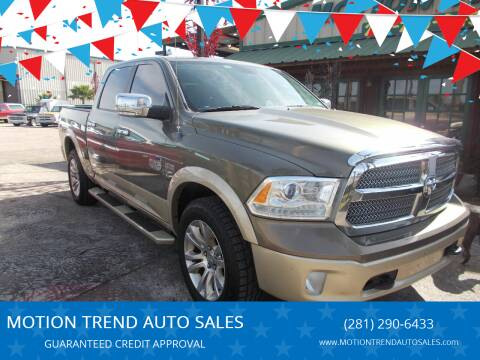 2013 RAM Ram Pickup 1500 for sale at MOTION TREND AUTO SALES in Tomball TX