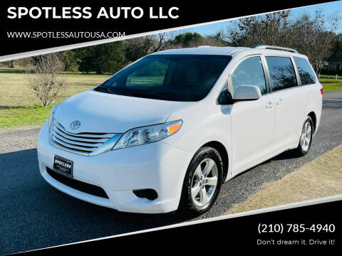 2016 Toyota Sienna for sale at SPOTLESS AUTO LLC in San Antonio TX