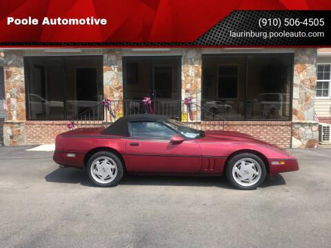 1989 Chevrolet Corvette for sale at Poole Automotive in Laurinburg NC