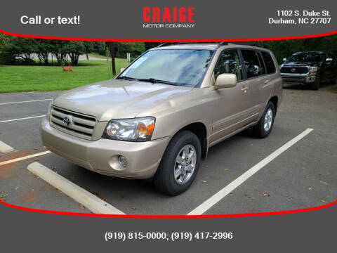 2004 Toyota Highlander for sale at CRAIGE MOTOR CO in Durham NC
