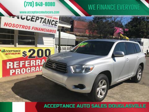 2010 Toyota Highlander for sale at Acceptance Auto Sales Douglasville in Douglasville GA